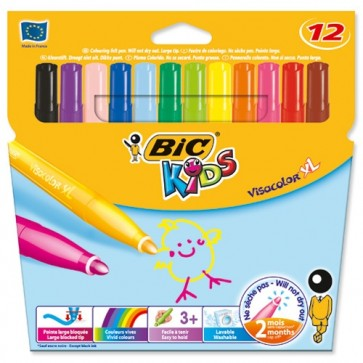 Carioci, 12 culori/set, BIC KiDS VisacolorXL
