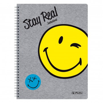 Caiet A4, matematica, cu spira, perforat, 70 file, Smiley World