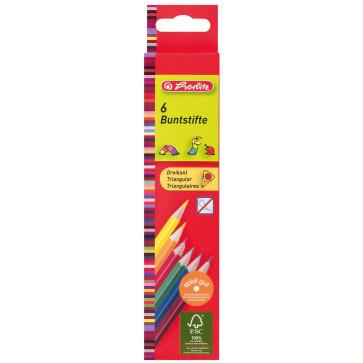 Creioane colorate, forma triunghiulara, 1/1, 6 bucati/set, HERLITZ