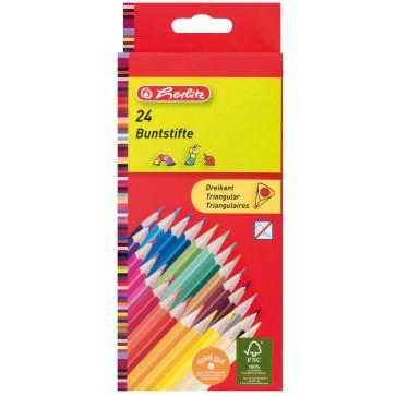 Creioane colorate, forma triunghiulara, 24 buc/set, 1/1, HERLITZ