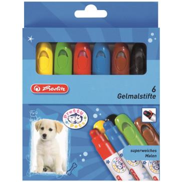 Creioane colorate, cu gel, 6 bucati/set, HERLITZ Pretty Pets