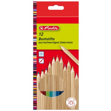 Creioane colorate, lemn cedru, 1/1, 12 culori/set, HERLITZ