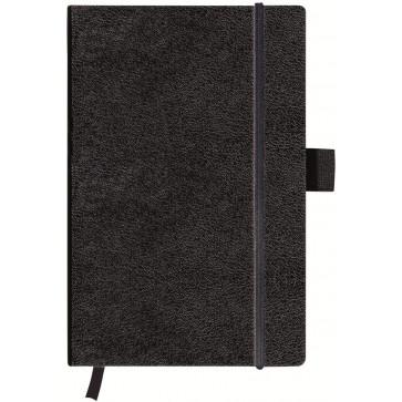 Bloc notes A6, matematica, coperta din piele sintetica cu elastic, 96 file, negru, HERLITZ My Book Classic