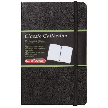 Bloc notes A6, velin, coperta din piele sintetica cu elastic, 96 file, negru, HERLITZ My Book Classic