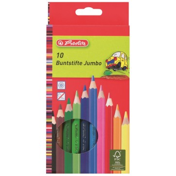 Creioane colorate, 1/1, 10 bucati/set, HERLITZ Jumbo