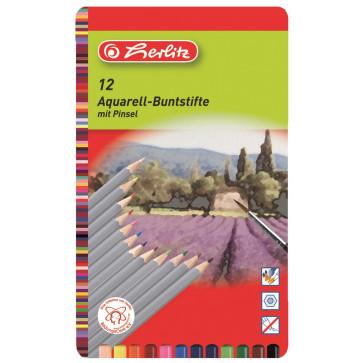 Creioane colorate, aquarell, 10 bucati/set, HERLITZ Aquarella