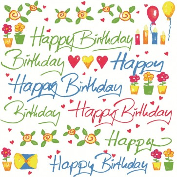 Servetele de masa, 3 straturi, 33 x 33cm, 20 buc/pachet, alb, HERLITZ Happy Birthday