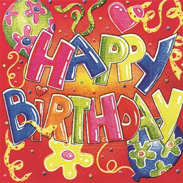Servetele de masa, 3 straturi, 33 x 33cm, 20 buc/pachet, rosu, HERLITZ Happy Birthday