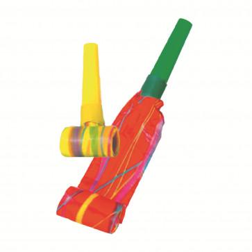 Suflatori party, diverse culori, model cu linii, 6 buc/set, HERLITZ