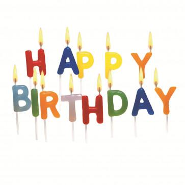 Lumanare aniversara, litere, 15 buc/set, HERLITZ Happy Birthday