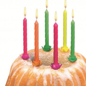 Lumanare aniversara, diverse culori neon, cu suport, 12 buc/set, HERLITZ
