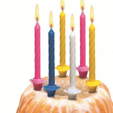 Lumanare aniversara, diverse culori, cu suport, 12 buc/set, HERLITZ