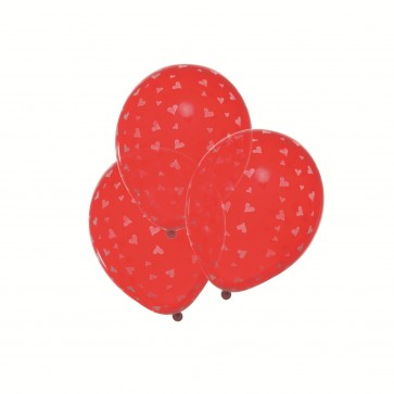 Baloane, rosu cu inimi albe, 6 buc/set, HERLITZ