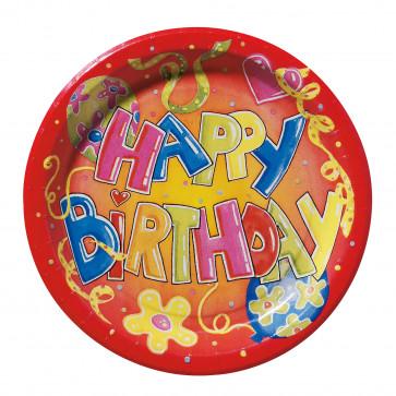 Farfurie din carton, color, diam. 23cm, 10 buc/set, HERLITZ Happy Birthday