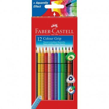 Creioane colorate, forma triunghiulara ergonomica, 12 culori/set, FABER CASTELL Grip 2001