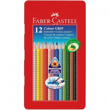 Creioane colorate, forma triunghiulara ergonomica, cutie metal, 12 culori/set, FABER CASTELL Grip 2001