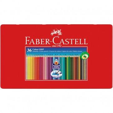 Creioane colorate, forma triunghiulara ergonomica, cutie metal, 36 culori/set, FABER CASTELL Grip 2001