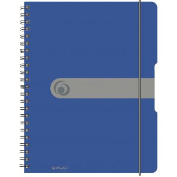 Caiet A4, matematica, cu spira, coperta PP cu elastic, 4 perforatii, 80 file, albastru opac, HERLITZ