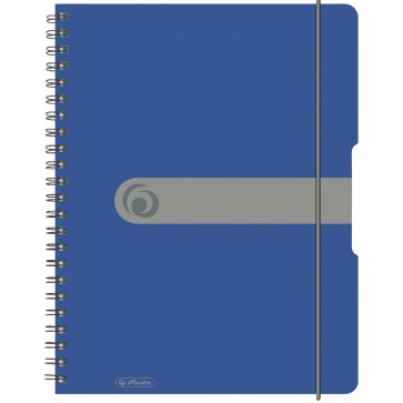 Caiet A6, matematica, cu spira, coperta PP cu elastic, microperforatii, 100 file, albastru opac, HERLITZ