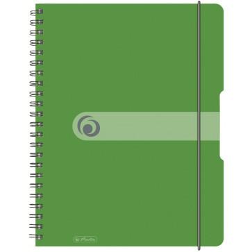 Caiet A6, matematica, cu spira, coperta PP cu elastic, microperforatii, 100 file, verde opac, HERLITZ