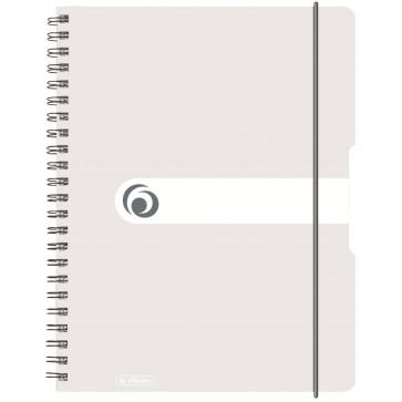 Caiet A4, matematica, cu spira, coperta PP cu elastic, 4 perforatii, 80 file, transparent, HERLITZ