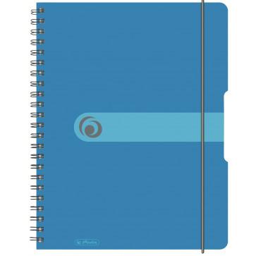 Caiet A4, matematica, cu spira, coperta PP cu elastic, 4 perforatii, 80 file, albastru, HERLITZ