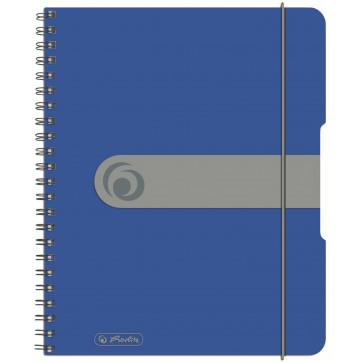 Caiet A5, matematica, cu spira, coperta PP cu elastic, 4 perforatii, 80 file, albastru opac, HERLITZ