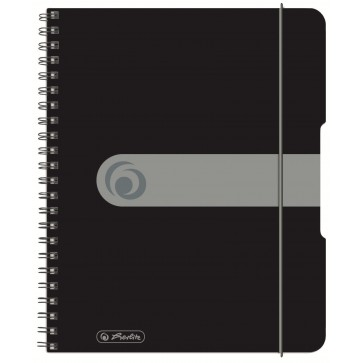 Caiet A5, matematica, cu spira, coperta PP cu elastic, 4 perforatii, 80 file, negru opac, HERLITZ