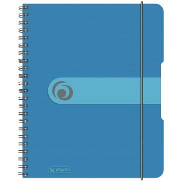 Caiet A5, matematica, cu spira, coperta PP cu elastic, 4 perforatii, 80 file, albastru, HERLITZ