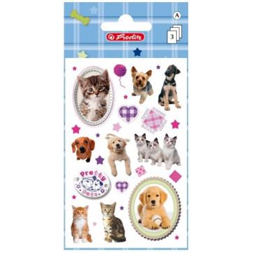 Autocolante, 3 coli/set, HERLITZ Pretty Pets dog&cat