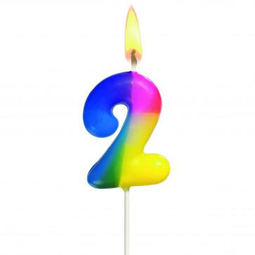Lumanare aniversara, cifra ''2'', curcubeu, HERLITZ