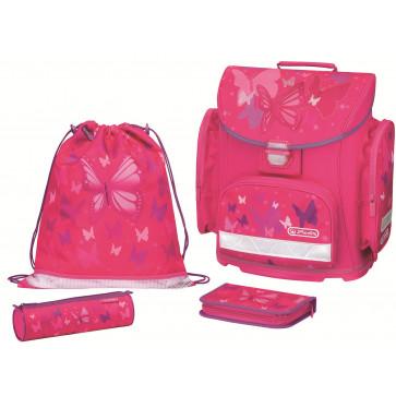 Ghiozdan ergonomic echipat, HERLITZ Midi Plus Pink Butterfly