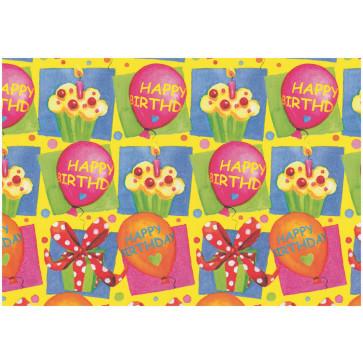 Hartie pt. ambalare, 70 x 200cm/rola, 70gr/mp, model cu tort si cadouri, HERLITZ Happy Birthday