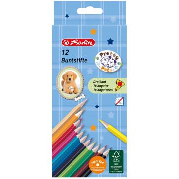 Creioane colorate, forma triunghiulara, 1/1, 12 culori/set, HERLITZ Pretty Pets