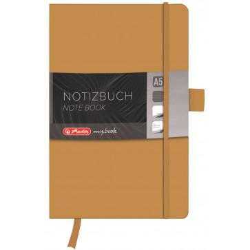 Bloc notes A5 dictando, coperta din piele sintetica cu elastic, 96 file, auriu, HERLITZ My Book Classic