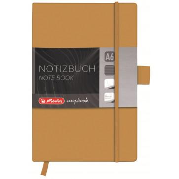Bloc notes A6 dictando, coperta din piele sintetica cu elastic, 96 file, auriu, HERLITZ My Book Classic
