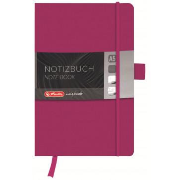 Bloc notes A5 dictando, coperta din piele sintetica cu elastic, 96 file, mov, HERLITZ My Book Classic