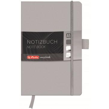 Bloc notes A5 dictando, coperta din piele sintetica cu elastic, 96 file, gri, HERLITZ My Book Classic