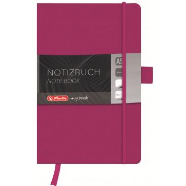 Bloc notes A5, velin, coperta din piele sintetica cu elastic, 96 file, mov, HERLITZ My Book Classic