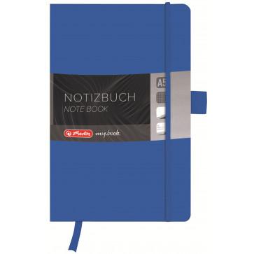 Bloc notes A5, matematica, coperta din piele sintetica cu elastic, 96 file, albastru, HERLITZ My Book Classic