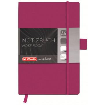 Bloc notes A6, dictando, coperta din piele sintetica cu elastic, 96 file, mov, HERLITZ My Book Classic