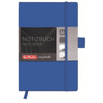 Bloc notes A6, dictando, coperta din piele sintetica cu elastic, 96 file, albastru, HERLITZ My Book Classic