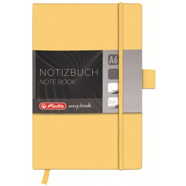 Bloc notes A6 dictando, coperta din piele sintetica cu elastic, 96 file, galben, HERLITZ My Book Classic