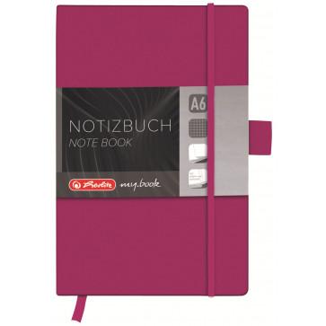 Bloc notes A6, matematica, coperta din piele sintetica cu elastic, 96 file, mov, HERLITZ My Book Classic