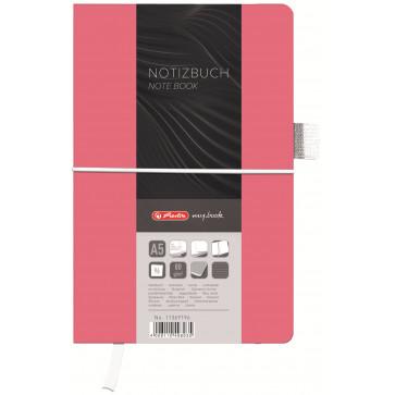 Bloc notes A5 dictando, coperta din panza cu elastic, 96 file, roz, HERLITZ My Book Classic