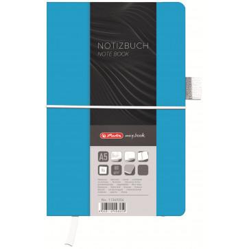 Bloc notes A5 dictando, coperta din panza cu elastic, 96 file, albastru deschis, HERLITZ My Book Classic