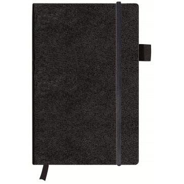Bloc notes A5, dictando, coperta din piele sintetica cu elastic, 96 file, negru, HERLITZ My Book Classic
