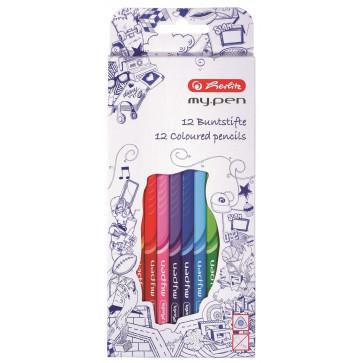 Creioane colorate, 1/1, 12 bucati/set, HERLITZ My.Pen
