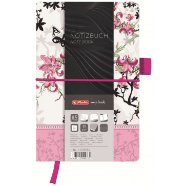 Bloc notes A5 dictando, coperta din panza cu elastic, 96 file, HERLITZ My Book Classic Ladylike Bloom