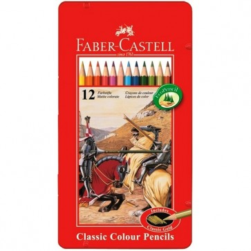 Creioane colorate, cutie metalica, 12 culori/set, FABER CASTELL